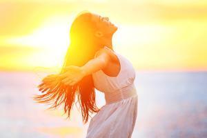 Enjoyment - Free Happy Woman Enjoying Sunset by Maridav