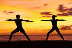 Yoga People Training and Meditating in Warrior Pose Outside by Beach at Sunrise or Sunset-Maridav-Photographic Print