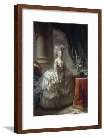 Marie-Antoinette d'Autriche, reine de France (1755-1793), en robe à paniers vers 1785-Elisabeth Louise Vigee-LeBrun-Framed Giclee Print
