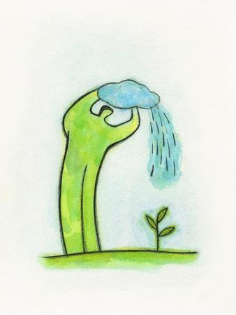 Illustration of Man Using Cloud for Watering Plant