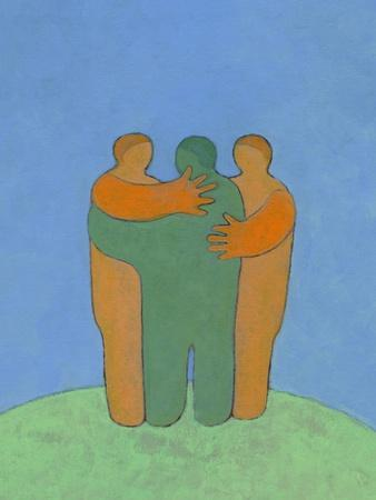Illustration of Three Men Embracing
