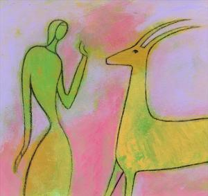 Woman and Impala by Marie Bertrand