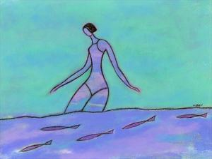 Woman Walking in the Water by Marie Bertrand