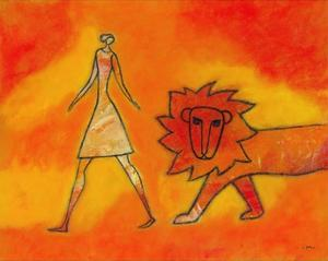 Woman Walking with a Lion by Marie Bertrand