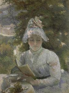 Le goûter. Portrait de Louise Quivoron, soeur de l'artiste by Marie Bracquemond