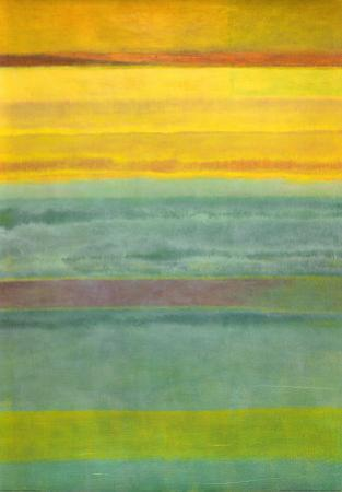 Layered Yellow and Green Abstract by Marie C^ Wattin