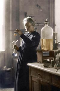 Marie Curie in her laboratory, 1925 (colourized photo)