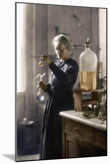 Marie Curie in her laboratory, 1925 (colourized photo)--Mounted Photographic Print