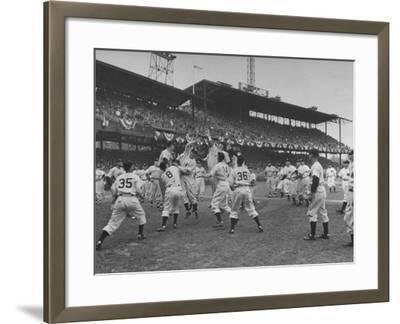 Baseball Players Catch Ball Thrown by Pres. Harry S. Truman at Opening Game for Washington Senators