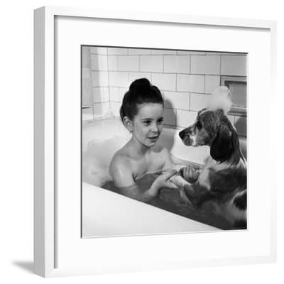 Margaret O'Brien and Her Spaniel Maggie Share a Bubble Bath