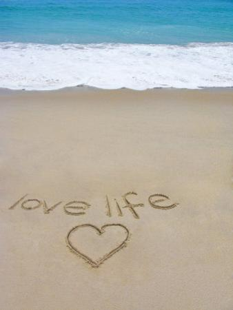 Beach on Fire Island, Ny with the Words 'Love Life' Written in the Sand