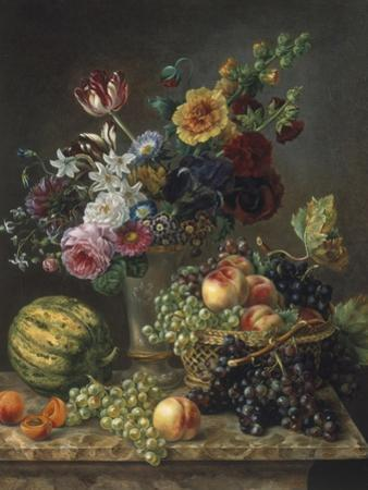 Rich Still Life of Fruit and Flowers by Marie-josephine Hellemans