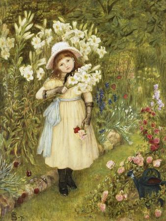 Portrait of Effie Holding a Lily and a Posy of Roses in a Garden, 1876