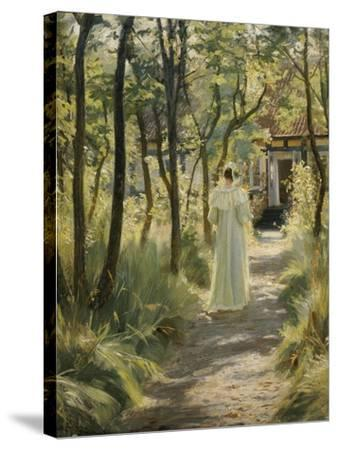 Marie, the Artist's Wife, in the Garden, 1895-Peter Severin Kroyer-Stretched Canvas Print