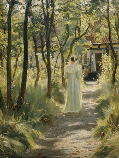Marie, the Artist's Wife, in the Garden, 1895-Peter Severin Kroyer-Giclee Print