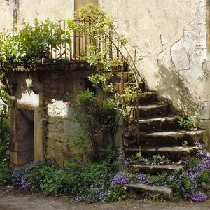 French Staircase with Flowers II by Marilyn Dunlap