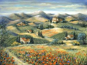Tuscan Villa and Poppies by Marilyn Dunlap