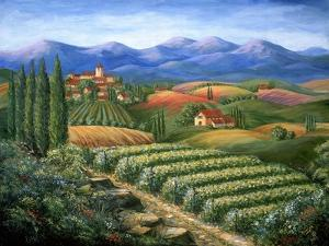 Tuscan Vineyard and Village by Marilyn Dunlap