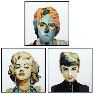 Marilyn, John & Audrey - Reverse Printed Art Glass and Anodized Aluminum Rose Gold Frame Wall Art