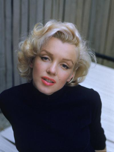 Marilyn Monroe on Patio Outside of Her Home-Alfred Eisenstaedt-Premium Photographic Print