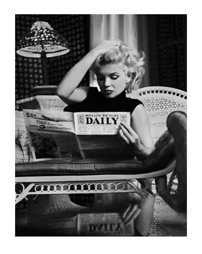 Marilyn Monroe Reading Motion Picture Daily, New York, c.1955-Ed Feingersh-Art Print