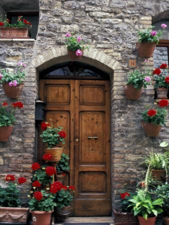 Flower Pots on Door, Assisi, Umbria, Italy by Marilyn Parver