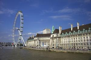 South Bank, London Eye, County Hall Along the Thames River, London, England by Marilyn Parver