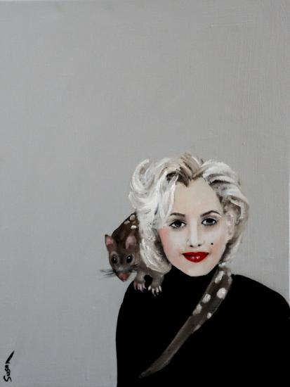 Marilyn with Quoll, 2016-Susan Adams-Giclee Print