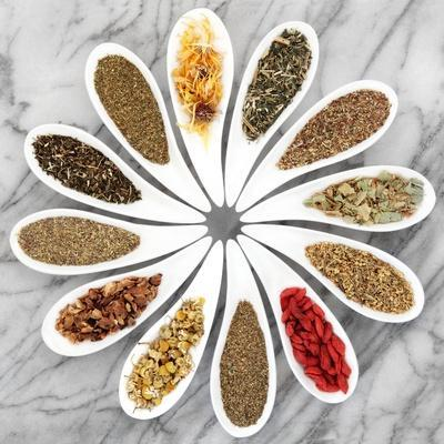 Herb Tea Selection In White Porcelain Dishes Over Marble Background