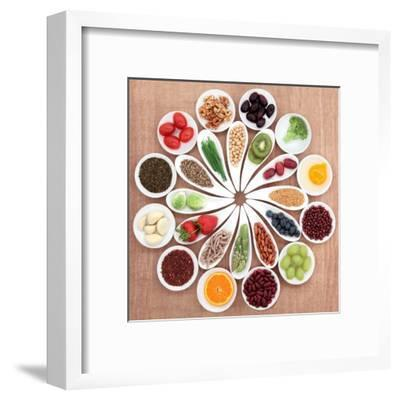 Large Health Food Selection In White Porcelain Bowls And Dishes Over Papyrus Background