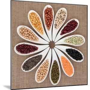 Pulses Vegetable Selection of Peas, Beans and Lentils in White Porcelain Bowls by marilyna