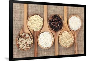 Rice Varieties In Olive Wood Spoons Over Hessian Background by marilyna