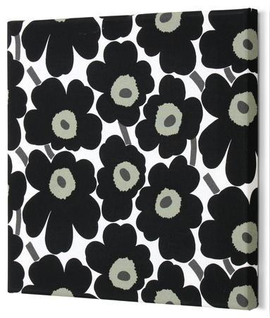 Marimekko®  Mini-Unikko Fabric Panel - Black 15x15