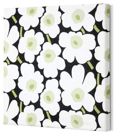 Marimekko®  Mini-Unikko Fabric Panel - Blk/Wht/Grn 13x13--Stretched Fabric Panel