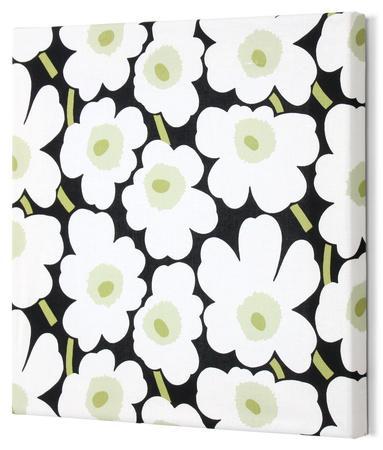 Marimekko®  Mini-Unikko Fabric Panel - Blk/Wht/Grn 13x13