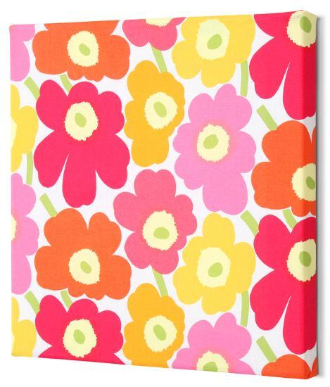 Marimekko®  Mini-Unikko Fabric Panel - Yel/Org/Pink 13x13--Alternative Wall Decor