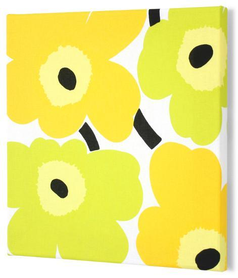 Marimekko®  Unikko Fabric Panel - Lime/Yel Pieni 15x15--Alternative Wall Decor