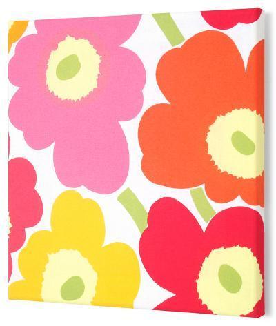 Marimekko®  Unikko Fabric Panel - Yel/Org/Pink Pieni 15x15--Stretched Fabric Panel