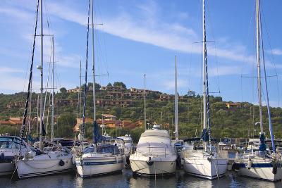 Marina and Perched Village, Ottiolu Harbour, Costa Degli Oleandri, Sardinia, Italy, Mediterranean-Guy Thouvenin-Photographic Print