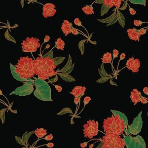 Vector Seamless Pattern with Flower Chinese Plum. Floral Pattern with Leaves Flowers and Branches O by Marina Vorontsova