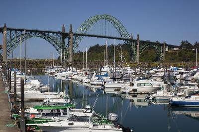 Marina with Pleasure Boats and Yaquina Bay Bridge, Newport, Oregon, USA-Jamie & Judy Wild-Photographic Print