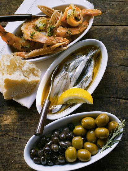 Marinated Sardines, Fried Scampi and Olives--Photographic Print