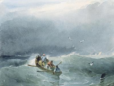 Marine, barque avec cinq marins sur une mer un peu agitée-Richard Parkes Bonington-Giclee Print