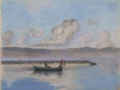 Marine: Boat Green in the Foreground with Two Figures-Charles Cottet-Giclee Print
