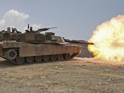 Marines Bombard Through a Live Fire Range Using M1A1 Abrams Tanks-Stocktrek Images-Photographic Print
