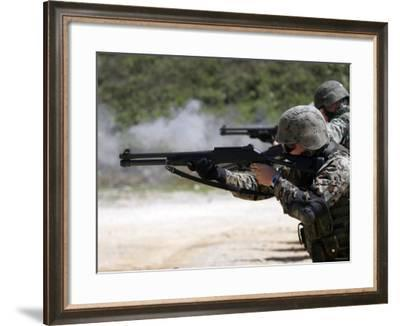 Marines Fire Joint Service Combat Shotguns-Stocktrek Images-Framed Photographic Print