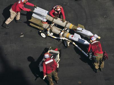 Marines Push Pordnance into Place on the Flight Deck of USS Enterprise-Stocktrek Images-Photographic Print
