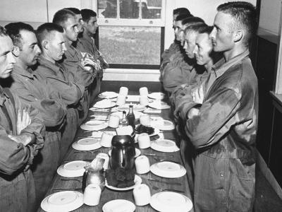 Marines Standing at Attention, before Eating, in the Mess Hall--Photographic Print