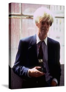 """Actor David Bowie, as Artist Andy Warhol, in a Publicity Still for the Film """"Basquait"""" by Marion Curtis"""