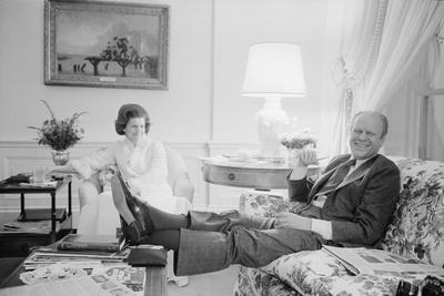President Gerald Ford and First Lady Betty Ford in the living quarters of the White House, 1975